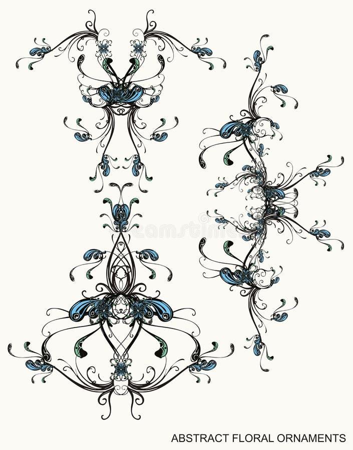 Ornamenti floreali decorativi illustrazione vettoriale