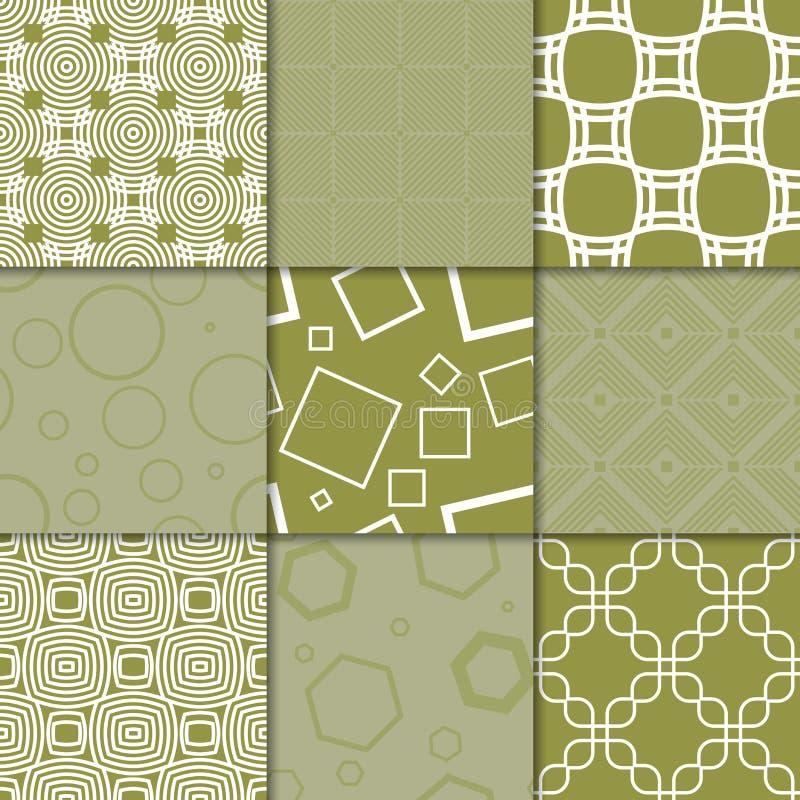 Ornamenti geometrici di verde verde oliva Accumulazione dei reticoli senza giunte illustrazione vettoriale