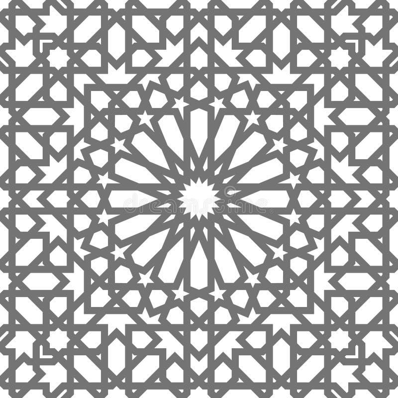 Ornamenti geometrici di vettore islamico, arte araba tradizionale Reticolo senza giunte orientale Mattonelle turche, arabe, maroc illustrazione vettoriale