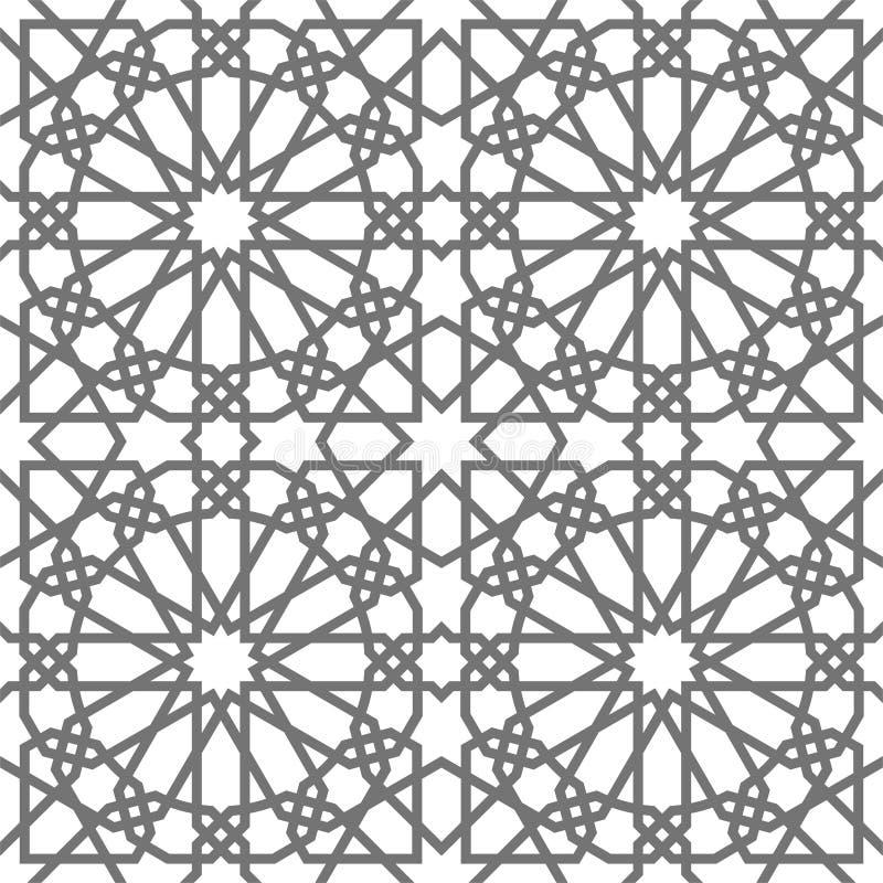 Ornamenti geometrici di vettore islamico basati su arte araba tradizionale Reticolo senza giunte orientale Mattonelle turche e ar royalty illustrazione gratis