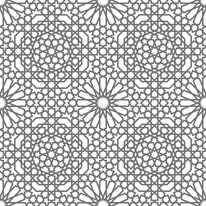 Ornamenti geometrici di vettore islamico basati su arte araba tradizionale Reticolo senza giunte orientale Mattonelle turche e ar illustrazione vettoriale