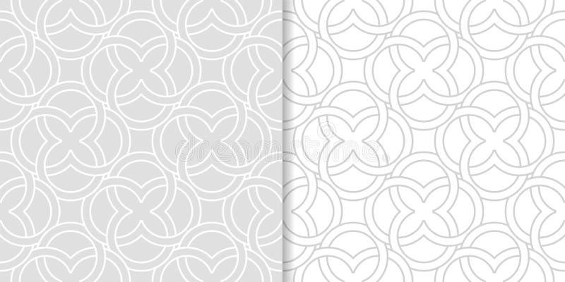 Ornamenti geometrici grigio chiaro Insieme dei reticoli senza giunte illustrazione vettoriale