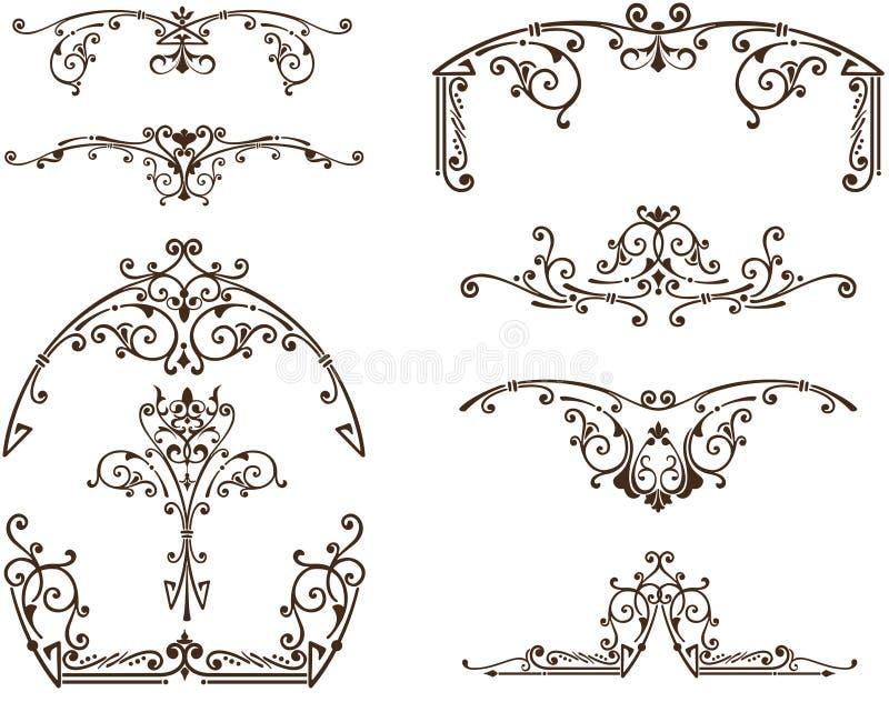 Ornamenti orientali dell'annata di vettore di fronzoli illustrazione di stock