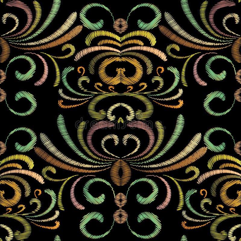 Ornamenti ricamati di lerciume Progettazione dei fiori della tappezzeria illustrazione vettoriale