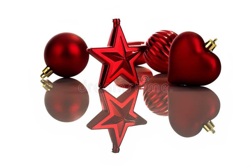 Ornamenti rossi di natale fotografia stock