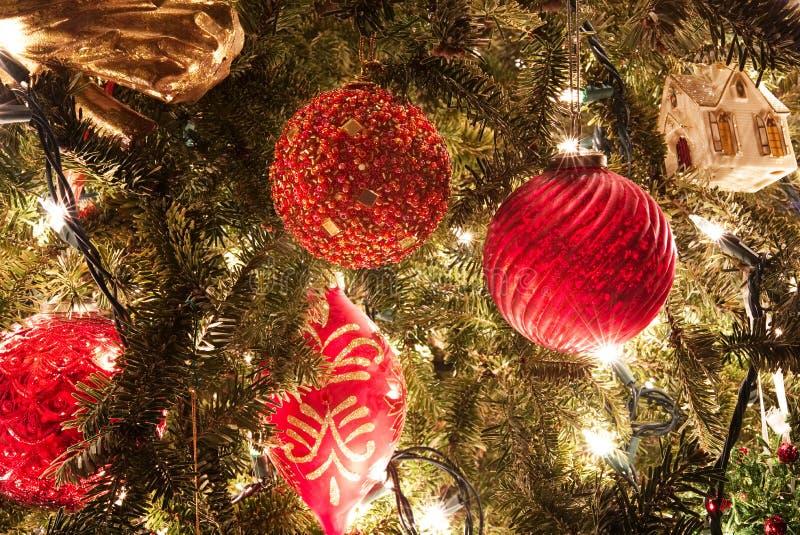 Ornamenti rossi di Natale che appendono su un albero con le luci vaghe nei precedenti fotografie stock