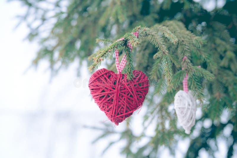 Ornamenti rossi di Natale, cuore, su una cartolina d'auguri di Buon Natale dell'albero di Natale Tema di vacanza invernale immagine stock libera da diritti