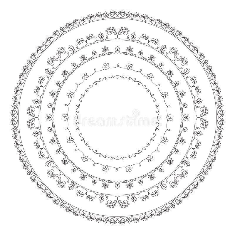 Ornamenti senza cuciture floreali neri, schemi per ricamo royalty illustrazione gratis