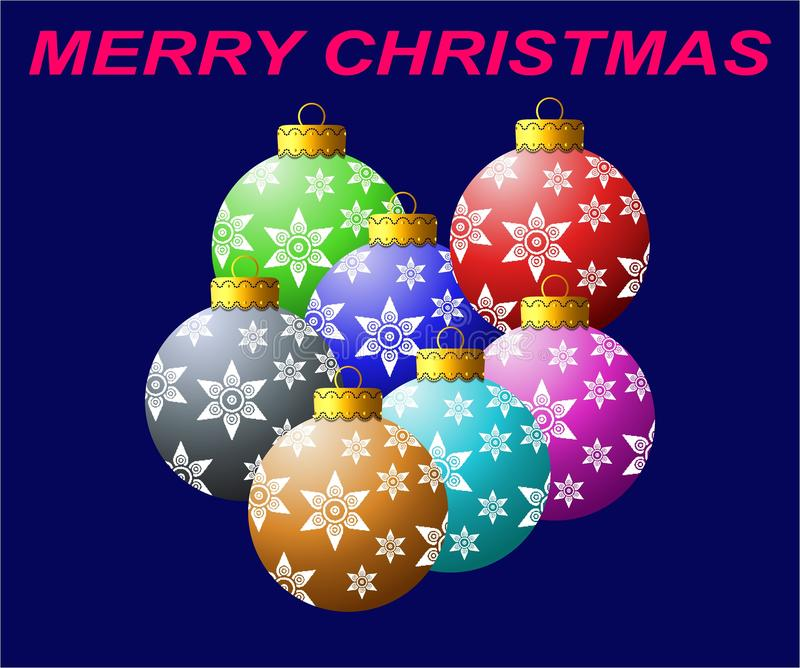 Ornamenti speciali della palla di Natale variopinti con il bello cappuccio dorato che ha progettazione generata da computer di ef illustrazione vettoriale