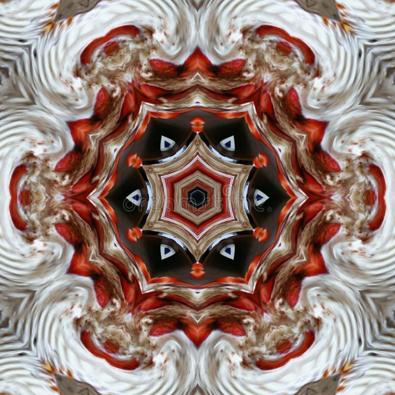 Ornamentkaart met rode zwarte mandala op witte achtergrond vector illustratie