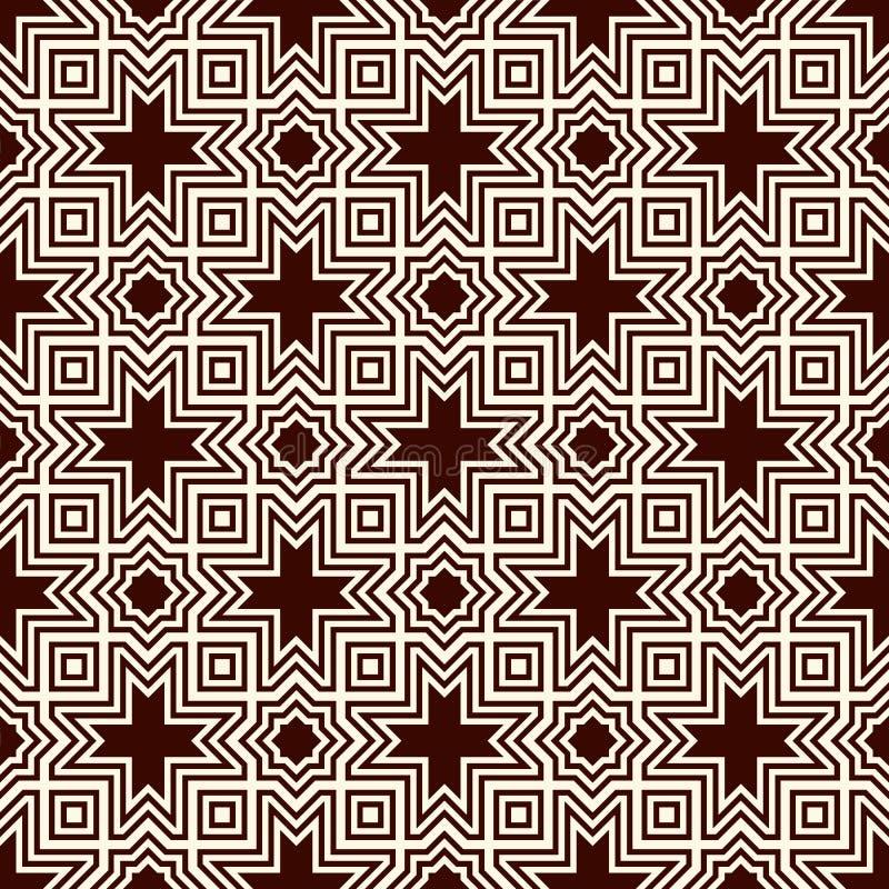Ornamento árabe inconsútil Adorno de las estrellas y de las cruces del marroquí Modelo tradicional del Arabesque con la teja de m stock de ilustración