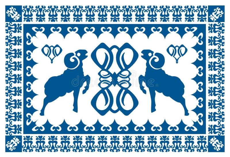 Ornamento étnico con el aries estilizado stock de ilustración
