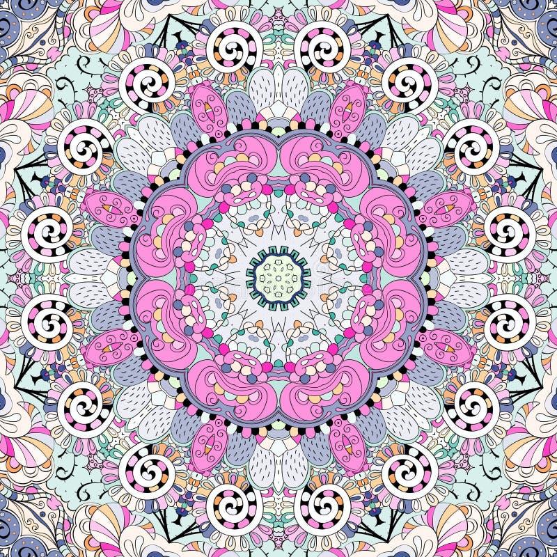 Ornamento étnico del mehndi del Tracery Adorno que calma discreto indiferente, diseño armonioso colorido que garabatea usable Vec stock de ilustración