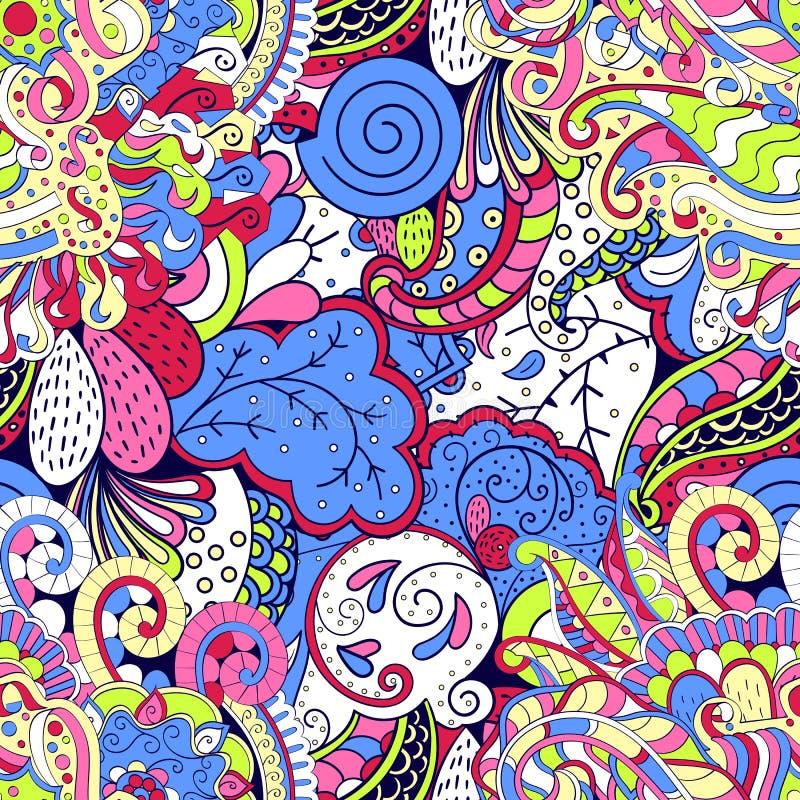 Ornamento étnico do mehndi do Tracery Motivo de acalmação discreto indiferente, projeto harmonioso colorido rabiscando útil Vetor ilustração do vetor