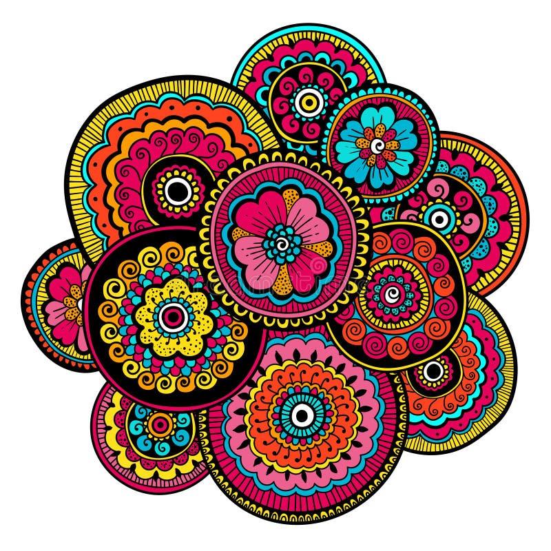 Ornamento étnico do mehndi Estilo indiano Composição floral da arte bonita da garatuja Desenho floral da garatuja Ornamento de Ze fotografia de stock royalty free