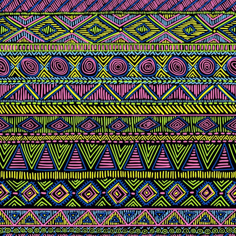 Ornamento étnico inconsútil brillante Negro, azul, rosado, amarillo y g ilustración del vector