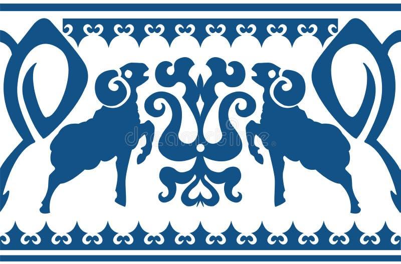 Ornamento étnico inconsútil con el aries estilizado ilustración del vector