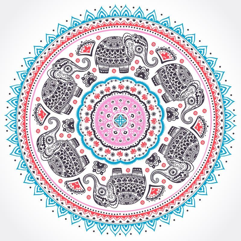 Ornamento étnico indiano da mandala com os elefantes astecas tribais ilustração stock