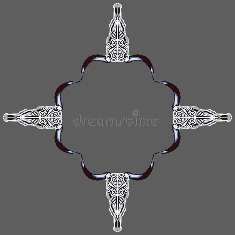 Ornamento étnico simétrico de los cráneos de la capucha libre illustration