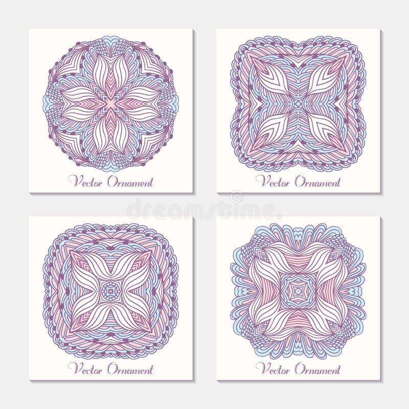 Ornamento étnico tirado mão Grupo de molde dos cartões com mandala Teste padrão geométrico do doodle ilustração do vetor