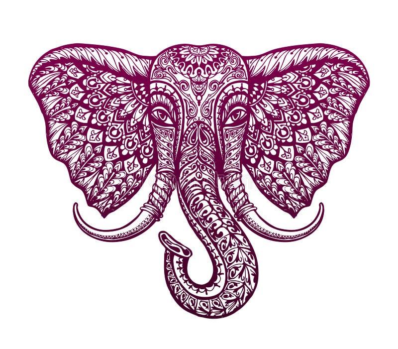 Ornamento étnico tribal pintado cabeza del elefante Ilustración del vector ilustración del vector