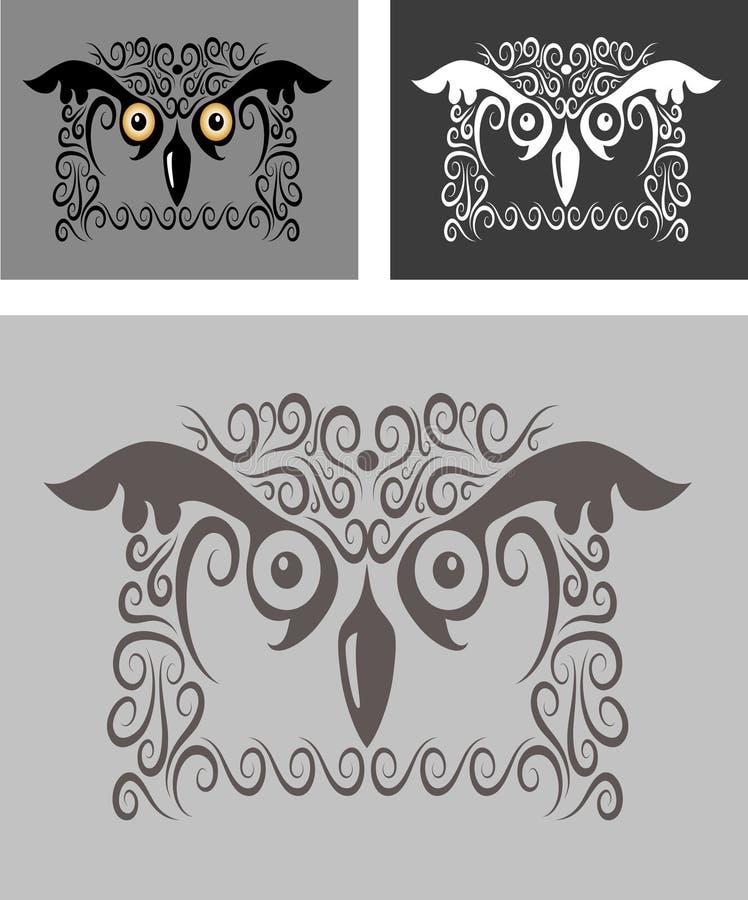 Ornamento 05 (buho) del pájaro stock de ilustración