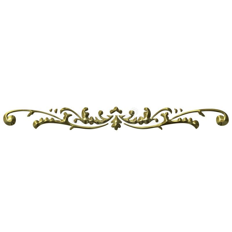 ornamento 3D dourado ilustração do vetor