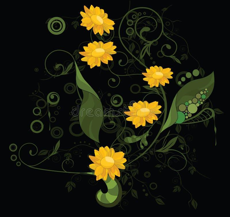 Ornamento abstracto con las flores libre illustration