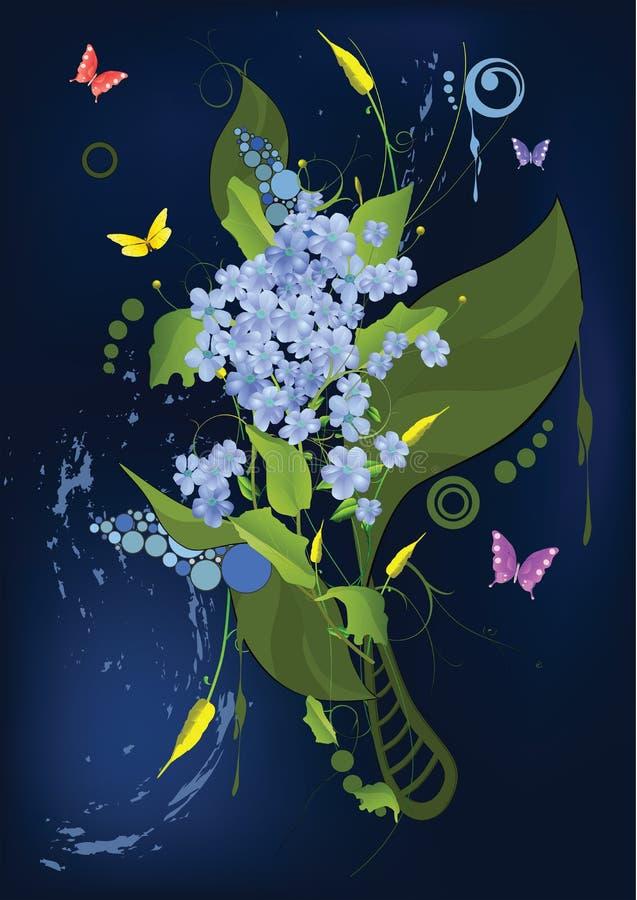 Ornamento abstracto con una lila y un aga de las mariposas ilustración del vector