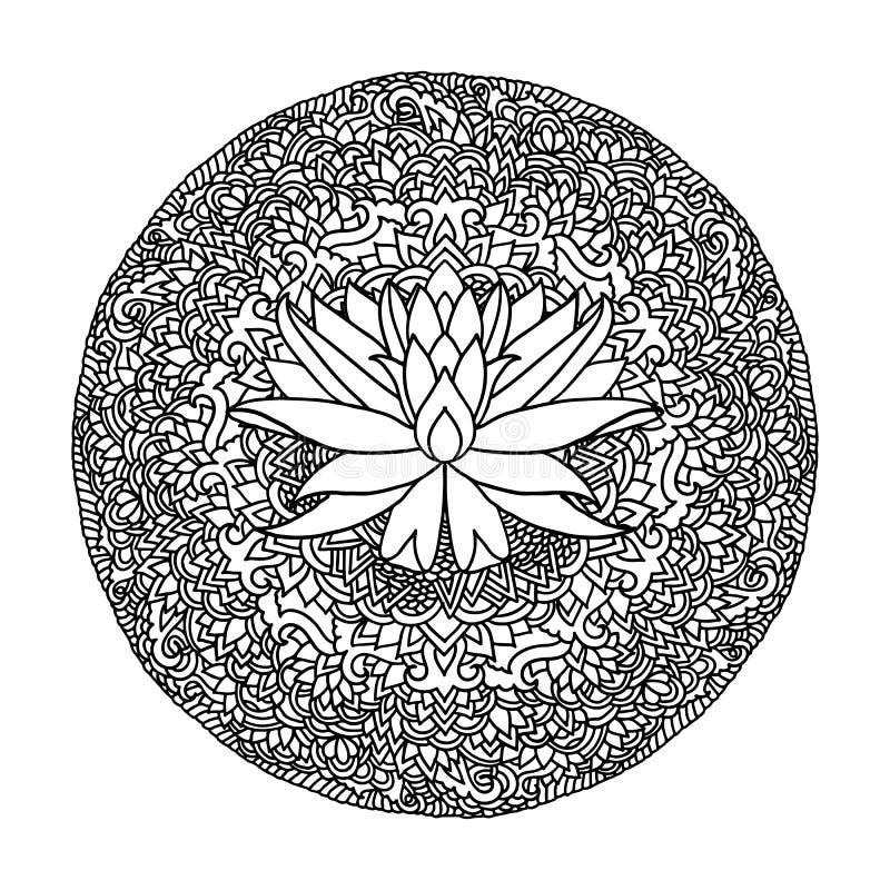 Ornamento abstracto de la mandala Modelo asiático con la flor de loto Fondo auténtico blanco y negro Ilustración del vector stock de ilustración