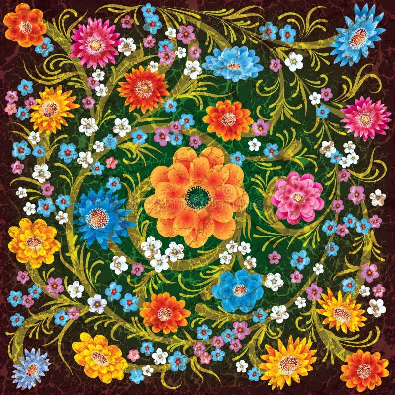 Ornamento abstracto del grunge con las flores del color libre illustration