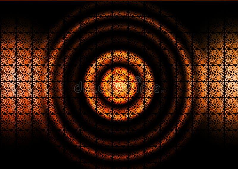 Ornamento abstracto del vintage del diseño del modelo del cordón del ornamento floral del círculo del vector en fondo negro ilustración del vector