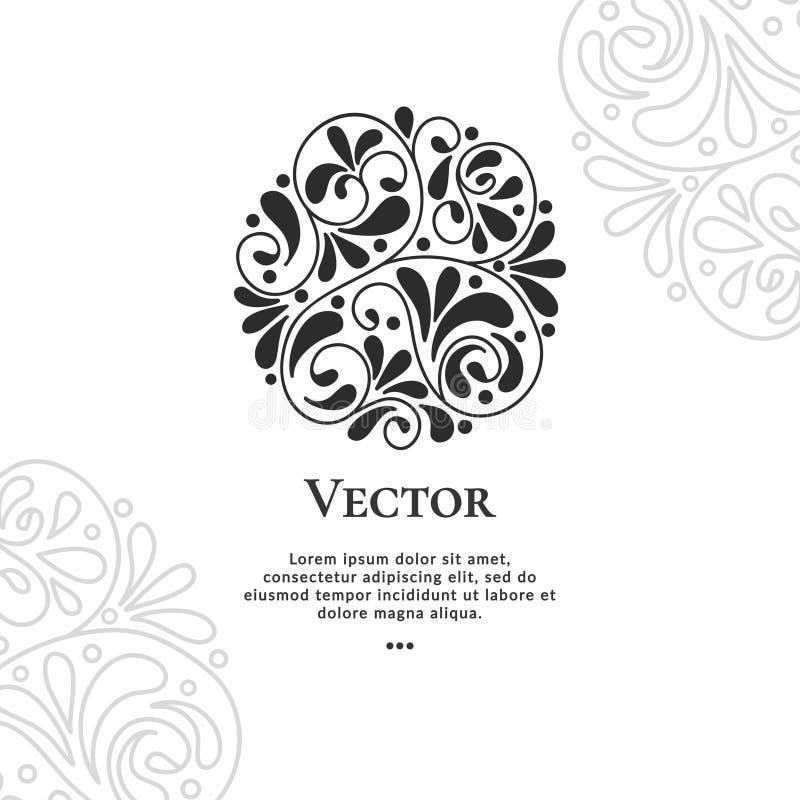 Ornamento abstracto negro hermoso del círculo Modelo Elementos elegantes, clásicos Ilustración decorativa del vector stock de ilustración