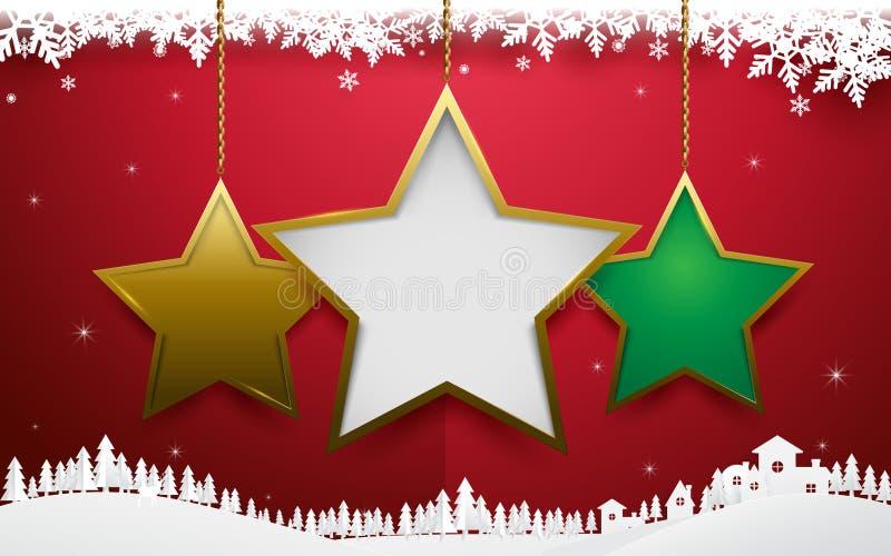 Ornamento abstrato da estrela do Natal que pendura no fundo vermelho ilustração do vetor
