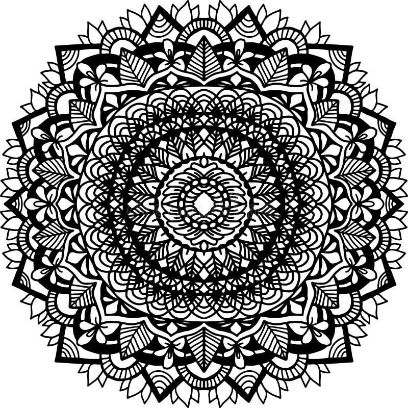 Ornamento abstrato da mandala para livros para colorir adultos Teste padrão asiático Fundo autêntico preto e branco ilustração royalty free