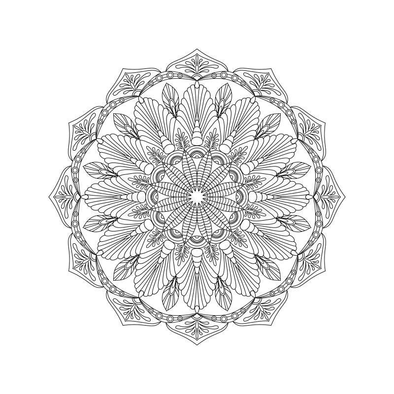 Ornamento abstrato redondo do livro para colorir para adultos ilustração do vetor