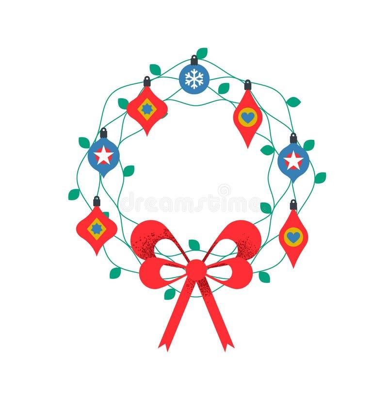 Ornamento aislado colorido de la guirnalda de la Navidad libre illustration
