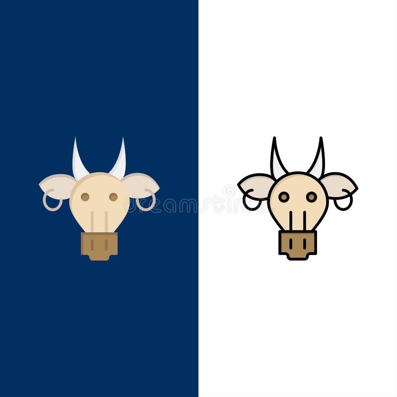 Ornamento, animali, toro, indiano, icone del cranio Il piano e la linea icona riempita hanno messo il fondo blu di vettore immagine stock libera da diritti