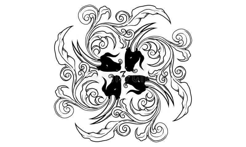 Ornamento antiguo del zodiaco del Capricornio libre illustration