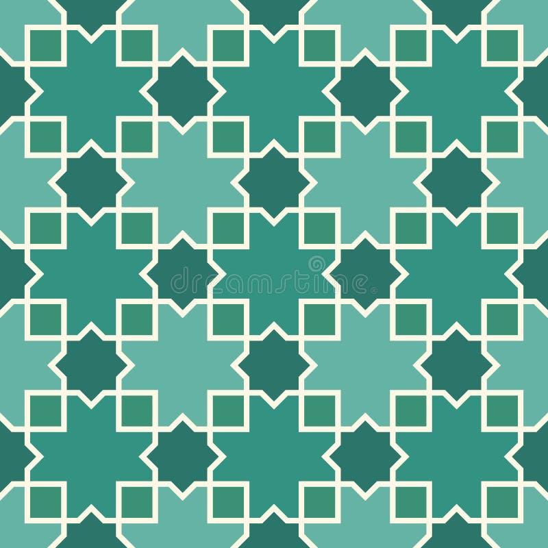 Ornamento arabo senza cuciture Stelle marocchine e motivo degli incroci Modello tradizionale di arabesque con la tessera illustrazione di stock