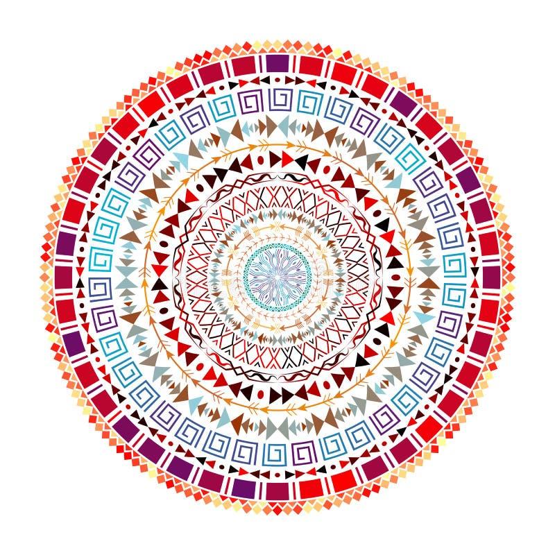 Ornamento asteca redondo ilustração royalty free