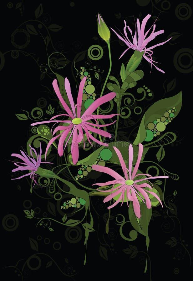 Ornamento astratto di schiocco art. con i fiori illustrazione vettoriale