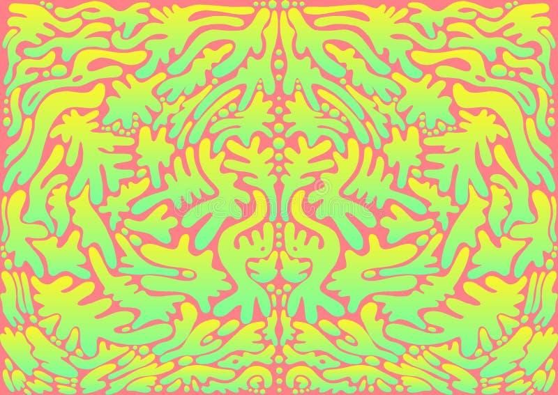 Ornamento astratto psichedelico variopinto, colore giallo luminoso di pendenza del turquise, su fondo rosa Struttura artistica di royalty illustrazione gratis