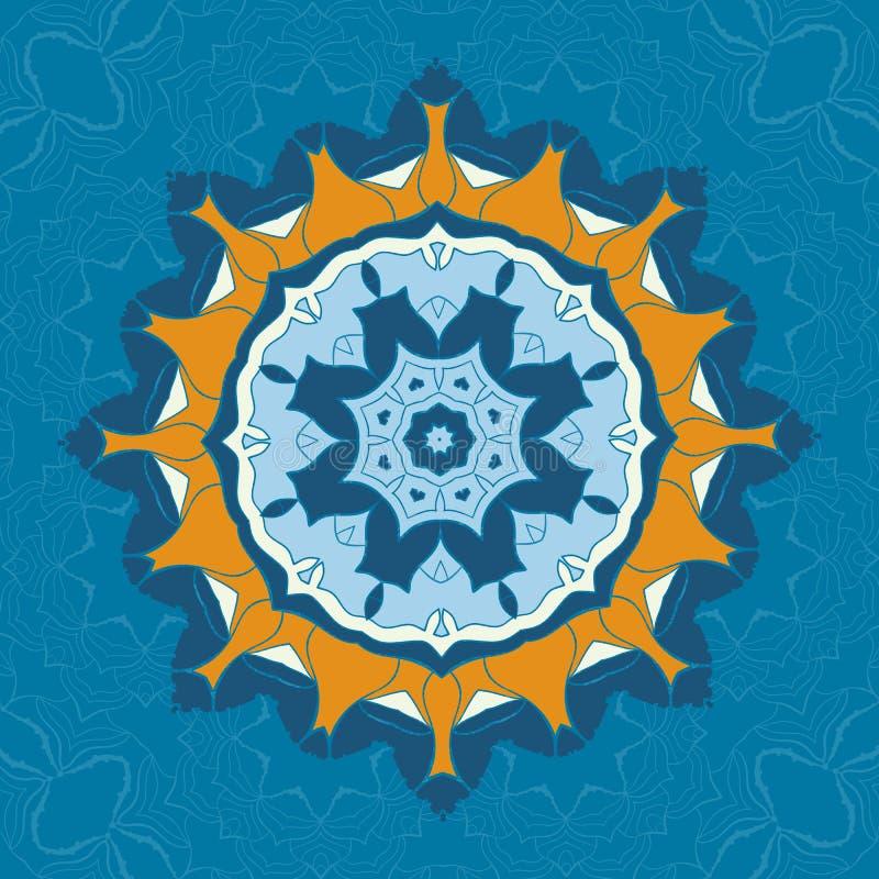 Ornamento azul e marrom da mandala sobre o fundo sem emenda da simetria Ornamento redondo decorativo para o anti-esforço colorind ilustração do vetor