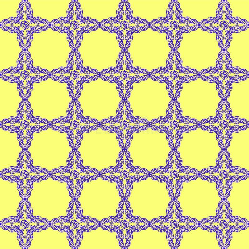 Ornamento azul en fondo amarillo stock de ilustración