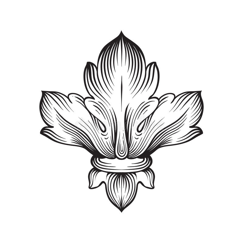 Ornamento barrocco d'annata del rotolo dell'incisione della struttura illustrazione vettoriale
