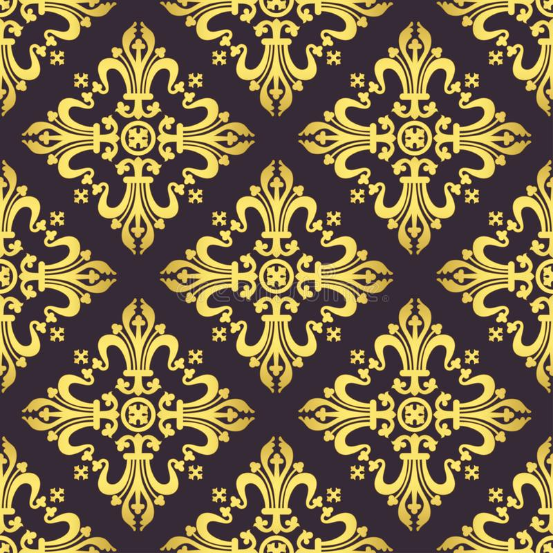 Ornamento barroco do vintage, teste padrão sem emenda luxuoso floral do damasco, ilustração do vetor Tracery oriental do ouro no  ilustração royalty free