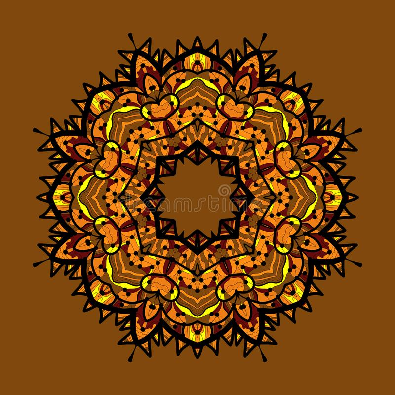Ornamento bege circular étnico tirado mão Símbolo colorido ornamentado do hinduism do vintage ilustração do vetor