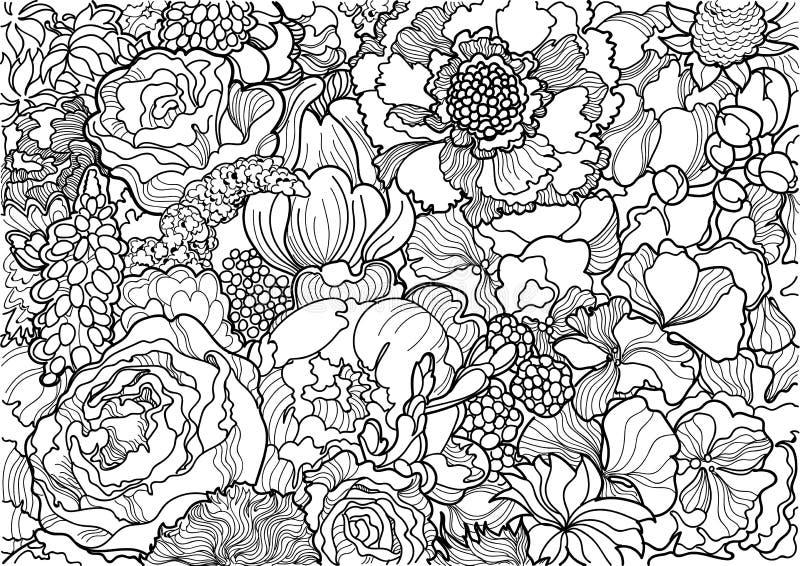 Ornamento in bianco e nero del fiore immagine stock