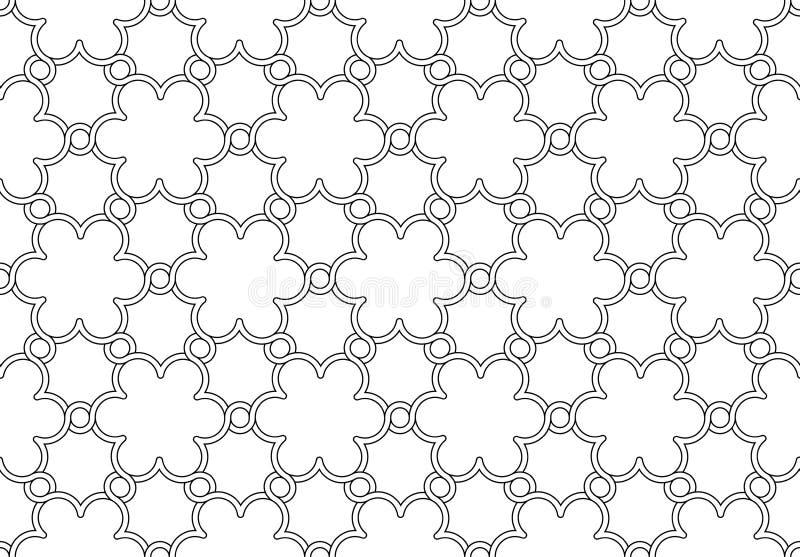 Ornamento in bianco e nero del modello di fiori illustrazione di stock